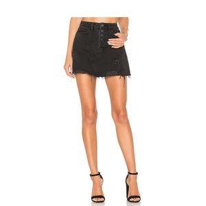Free People Black Jean Skirt